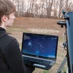 Student with telescope