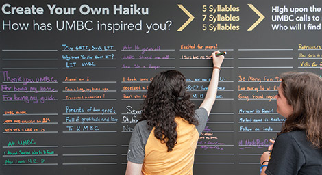 The UMBC community counts its syllables creatively at UMBC Haiku in the Thinkers Tent.
