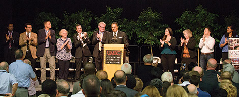Founders Day Speakers (from left): Bentley Corbett-Wilson '17, president, Student Government Association; Damian Doyle '99, president, Professional Staff Senate; Matt Baker, vice president, Faculty Senate; Robin Mayne '69; Greg Simmons '04, MPP, vice president, Office of Institutional Advancement; Provost Philip Rous; President Freeman A. Hrabowski; Deanna Cerquetti,president, Graduate Student Association; Dottie Caplan, president, Non-Exempt Staff Senate; John Becker '01, president, Alumni Board of Directors; Vrinda Deshpande, UMBC Class of 2020.
