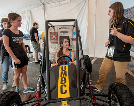 A chance to get behind the wheel of Baja SAE off-road vehicle was on offer at the Makers Tent in the House of Grit.