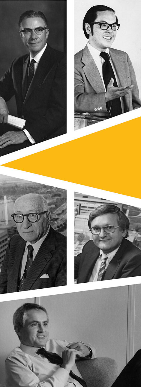 UMBC Presidents (from top left): Albin O. Kuhn; Calvin Lee, Louis Kaplan; John Dorsey; and Michael Hooker.