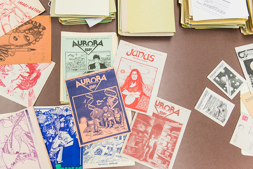 An array of titles from UMBC's Coslet-Sapienza Fantasy and Science Fiction Fanzine Collection.