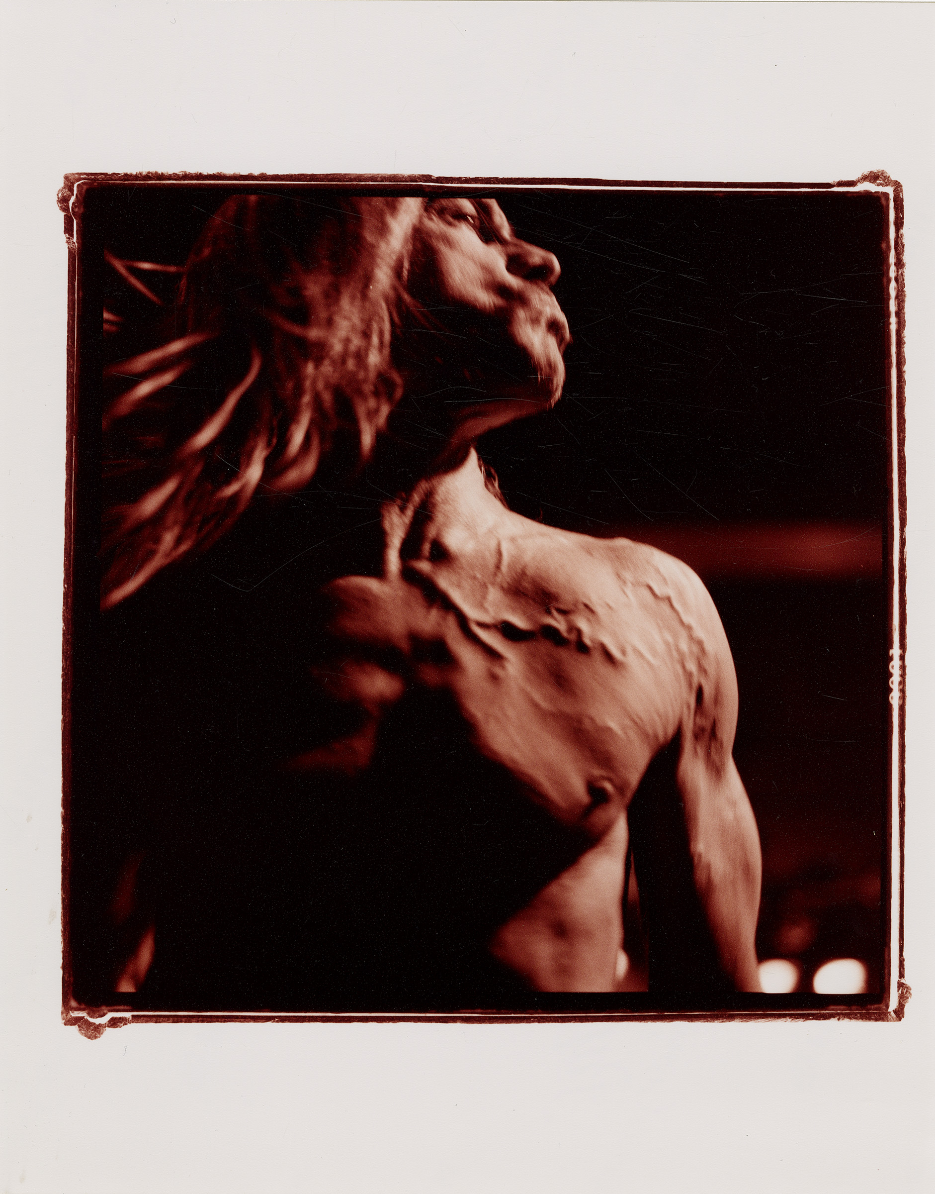 Sam Holden, [Iggy Pop], 2001, chromogenic color print, gelatin silver negatives, cross processed. Collection 255, © Sam Holden Archive, UMBC; Mina and Todd Holden, and Donna Sherman, used with permission