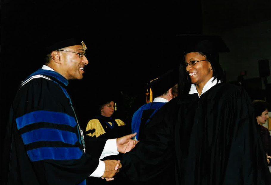 Dr. Hrabowski congratulates Nicole Smith on graduation. Photo courtesy of the Smith family.