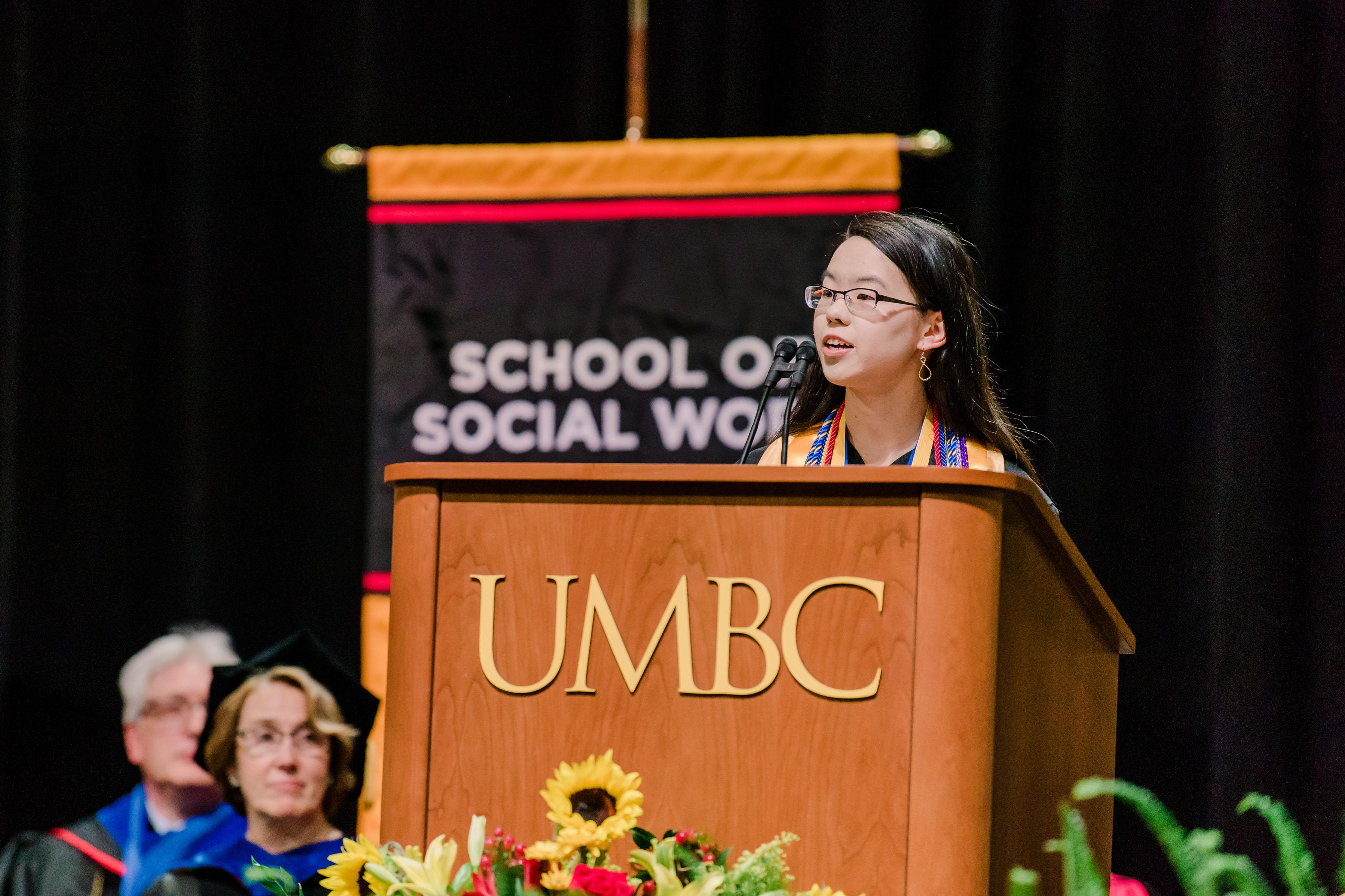Undergradaute valedictorian Linda Wiratan addresses her classments at spring commencement 2019.
