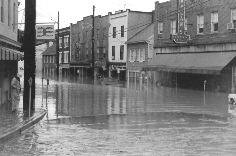 Flood waters on Main Street in Ellicott City, 1972. Photo from the Howard County Historical Society.