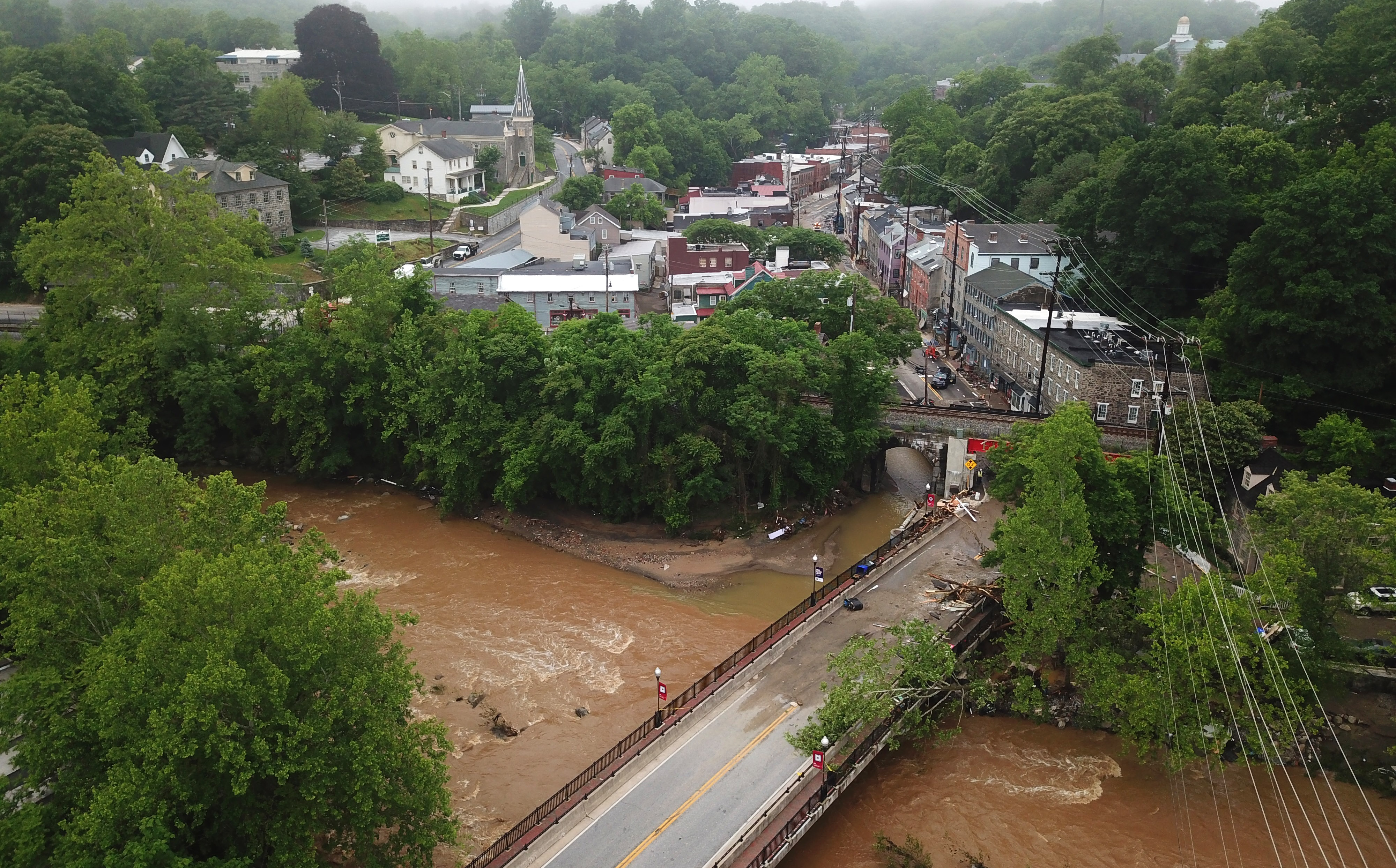 Main Street in Ellicott City is seen from above the day after a flash flood devastated the historic city on the Patapsco River. Photo: Jerry Jackson, permission from Baltimore Sun Media. All rights reserved.