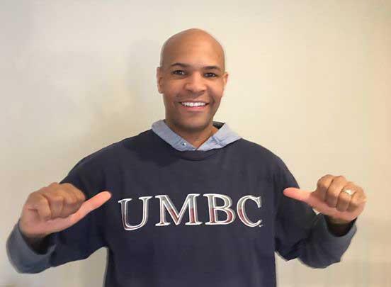 Adams representing his UMBC pride from one of his social media accounts.