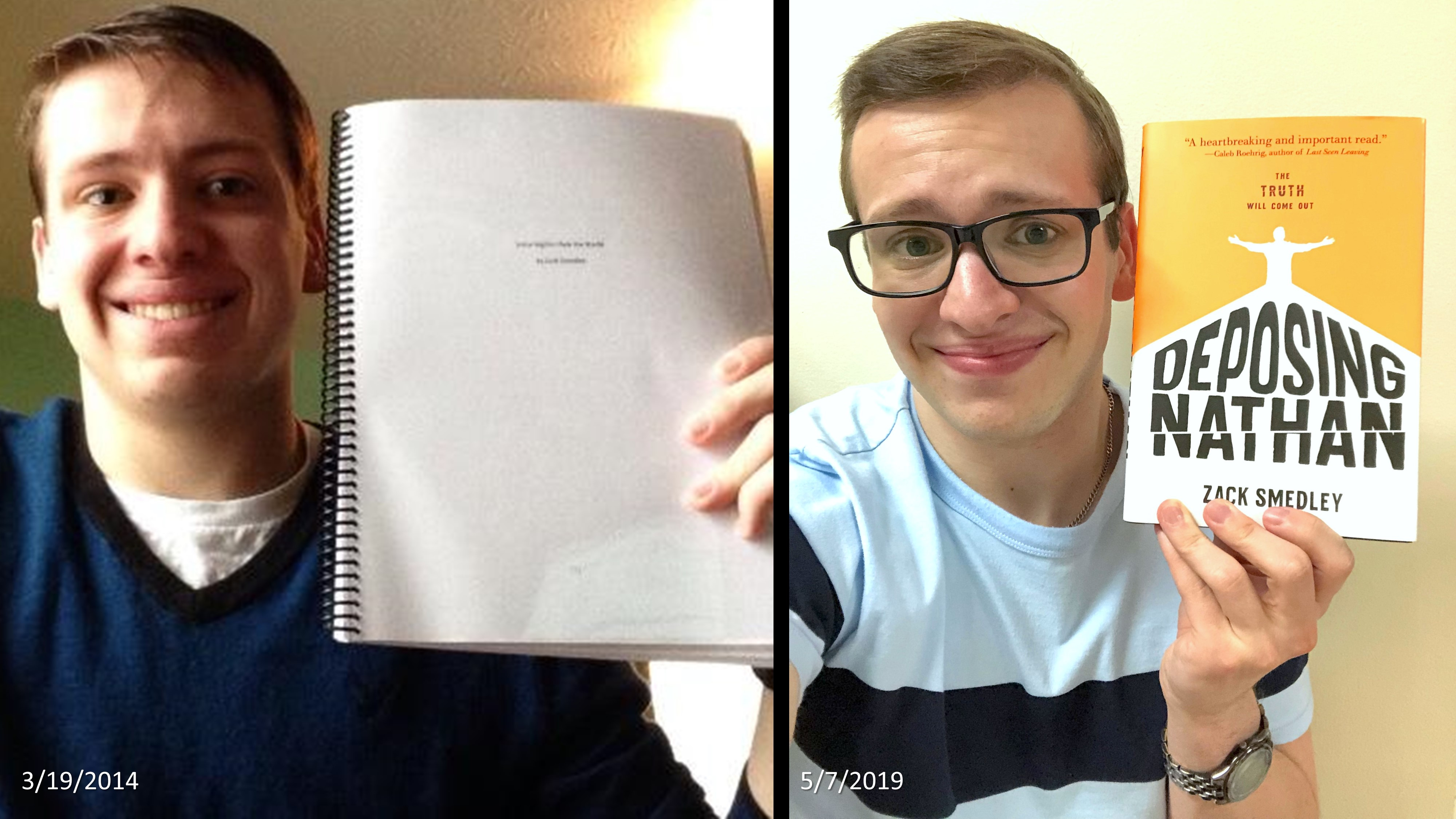 Zack Smedley '18 shows the progression from manuscript to publication. Photo courtesy of Smedley.