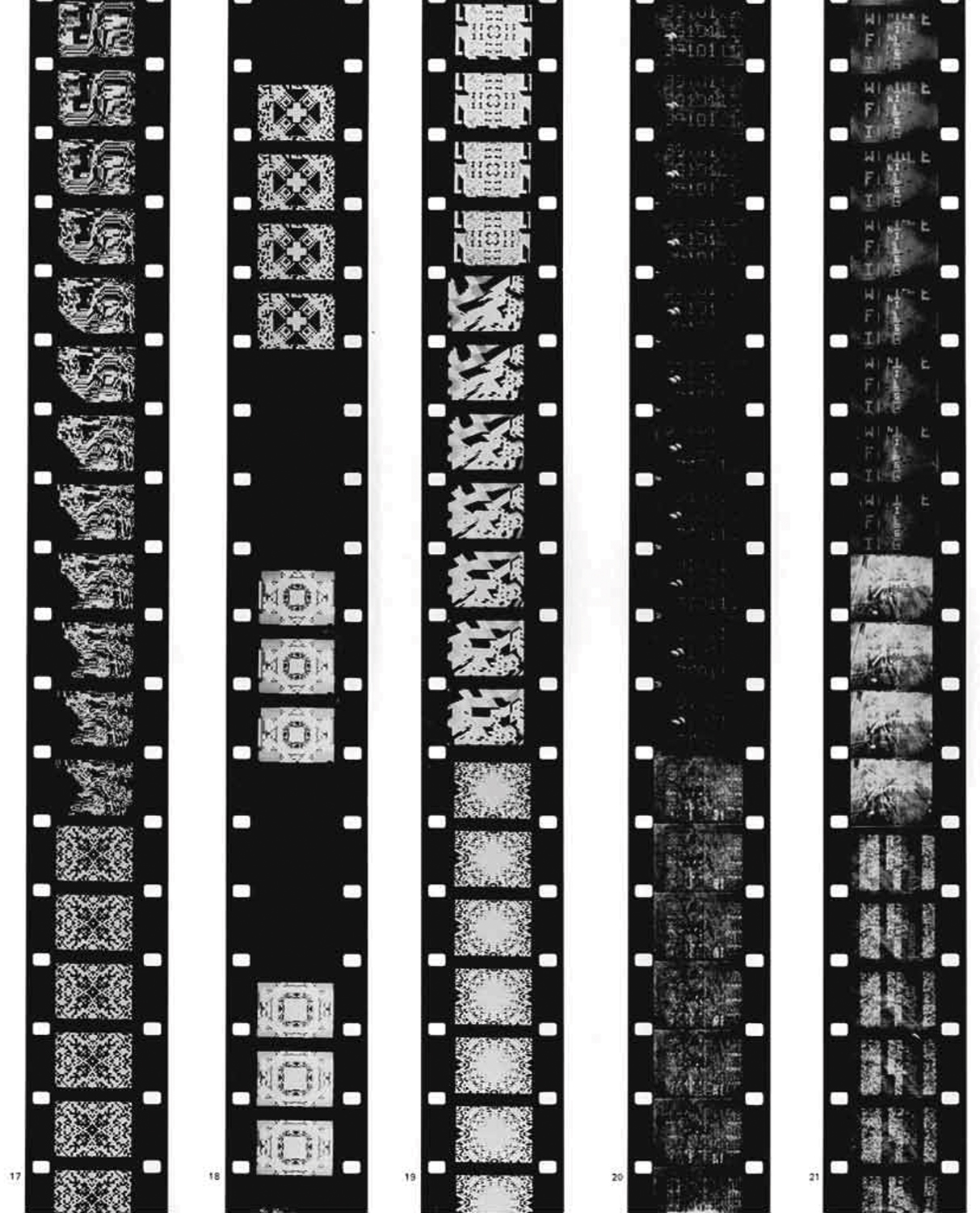 "The computer-generated Poemfield series, created between 1965 and 1969, were the artist's exploration of ""image-based poetry language."""