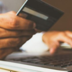 A person uses a credit card online