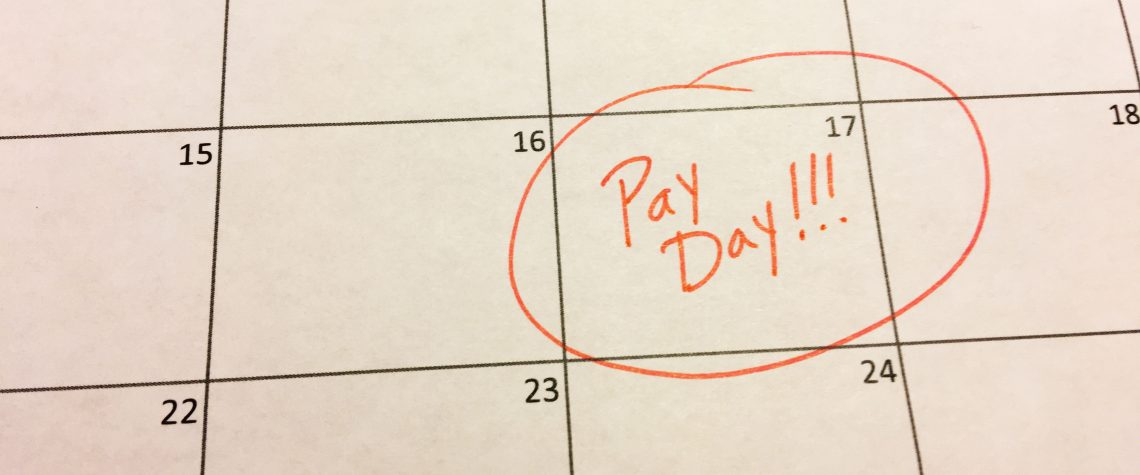 pay day circled on calendar