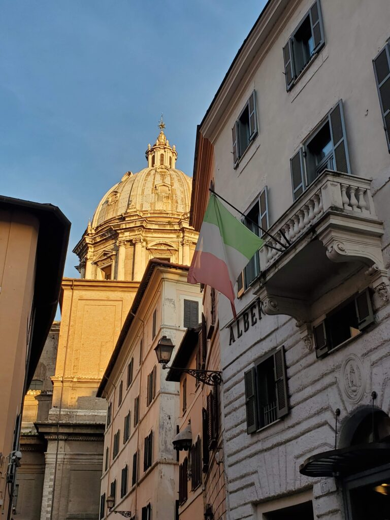 Italian flag in the Campo de' Fiori in Rome, Italy.