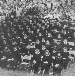 Black and white photo of early UMBC graduation