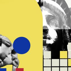 Red, blue, yellow, black, and white collage of circles, squares, the Statue of Liberty and Discobolus of Myron statue