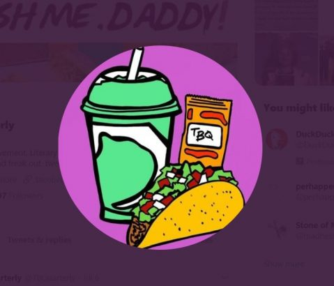 Taco Bell Quaterly cartoon drawing, screenshot from their Twitter page