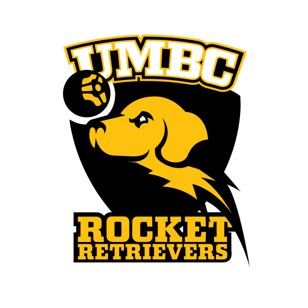 UMBC Rocket League team logo with yellow retriever heading a black and yellow soccer ball.