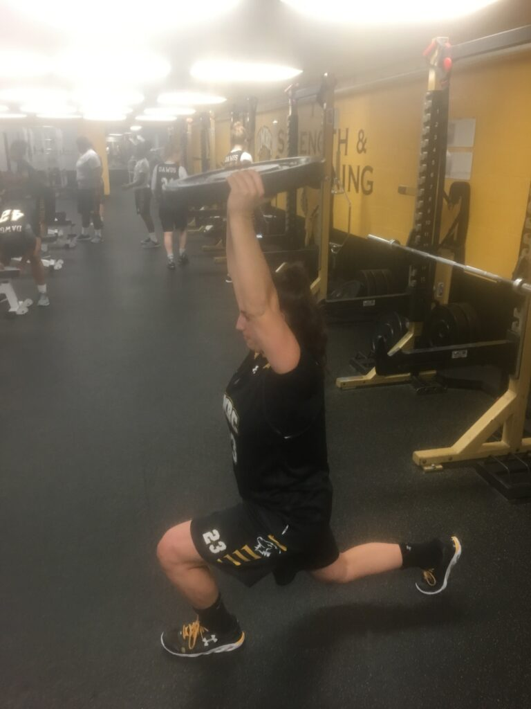 First workout of the day in the UMBC Weight Room.